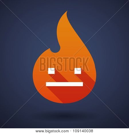 Long Shadow Vector Flame Icon With A Emotionless Text Face