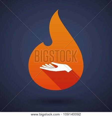 Long Shadow Vector Flame Icon With A Hand Offering