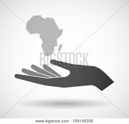 Isolated Vector Hand Giving  A Map Of The African Continent