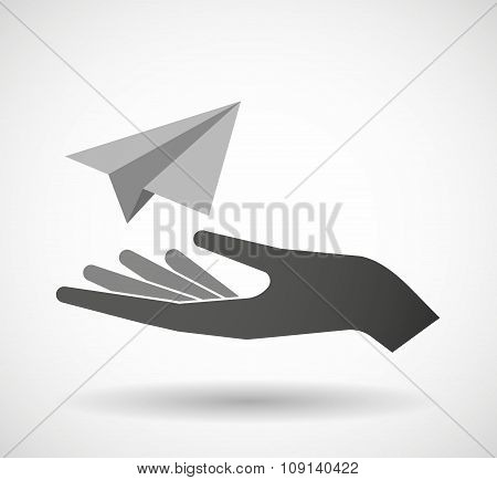 Isolated Vector Hand Giving A Paper Plane