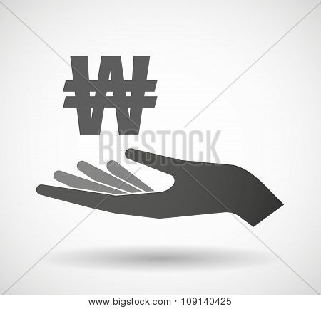 Isolated Vector Hand Giving A Won Currency Sign