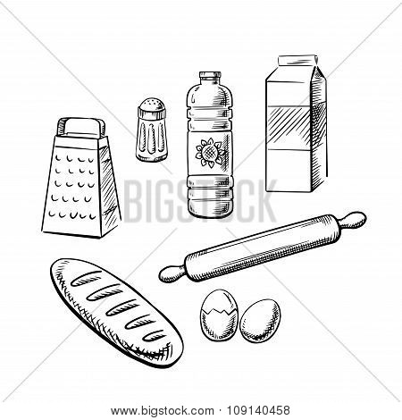 Bakery ingredients and utensil icons
