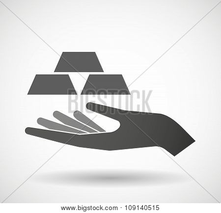 Isolated Vector Hand Giving Three Gold Bullions