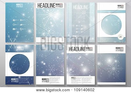 Set of business templates for brochure, flyer or booklet. Blue abstract winter background. Christmas