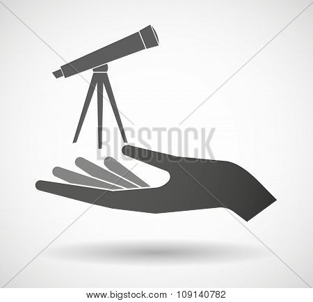 Isolated Vector Hand Giving A Telescope