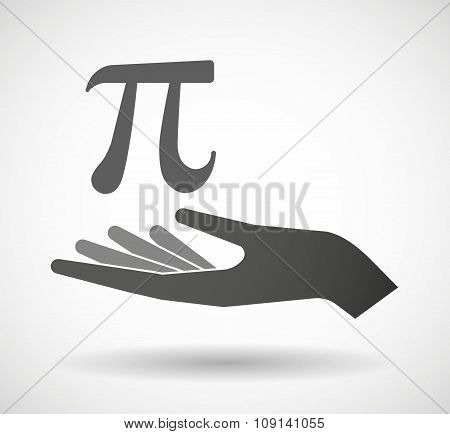 Isolated Vector Hand Giving The Number Pi Symbol