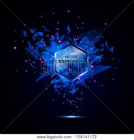 Blue Techno Style Vector Explosion. Abstract Background