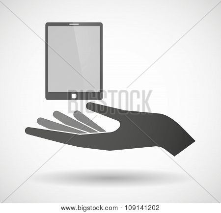 Isolated Vector Hand Giving A Tablet Computer