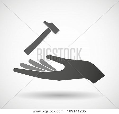 Isolated Vector Hand Giving A Hammer