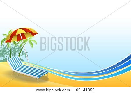 Abstract background summer beach vacation deck chair red umbrella green palm blue yellow frame illus