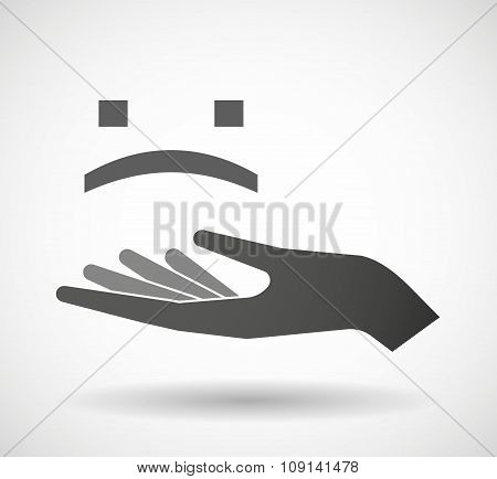 Isolated Vector Hand Giving A Sad Text Face