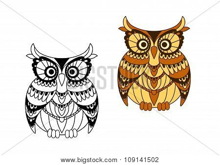 Funny brown owl with mottled feathers