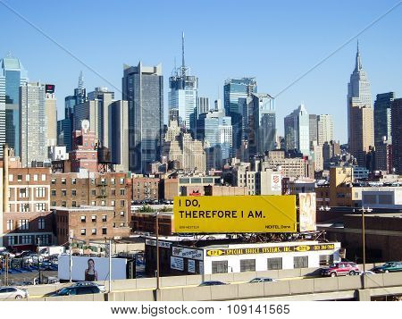 Urban Skyline Of Midtown Manhattan