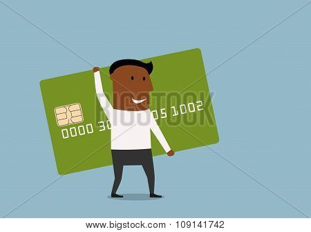 Businessman going with credit card in hands