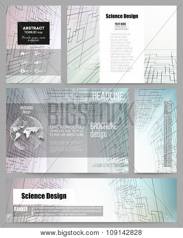 Set of business templates for presentation, brochure, flyer or booklet. Abstract vector background d