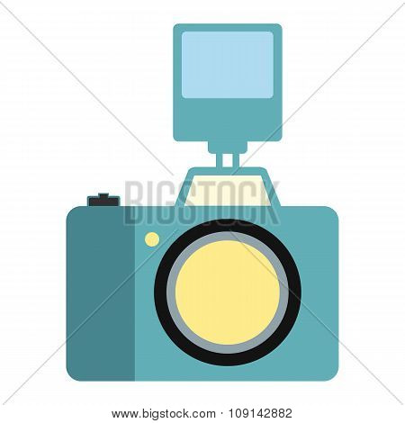 Camera with flash flat icon