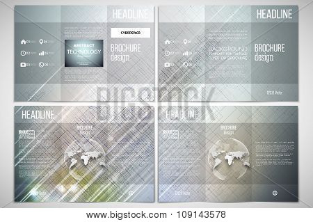 Vector set of tri-fold brochure design template on both sides with world globe element. Abstract sci