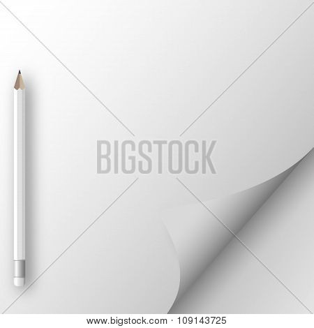 White sheet of paper with pencil