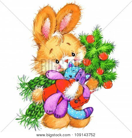 funny bunny and Christmas watercolor background  New year cute bunny