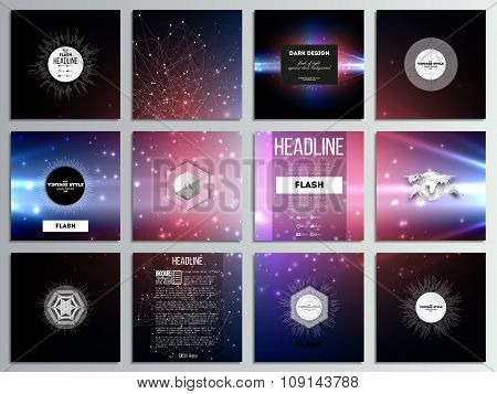 Set of 12 creative cards, square brochure template design. Flashes against dark background