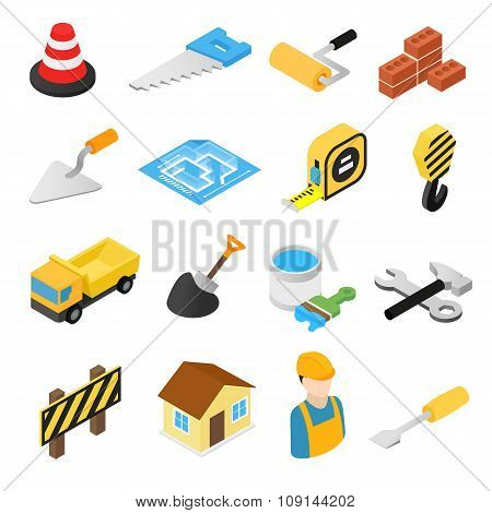 Construction isometric icons set