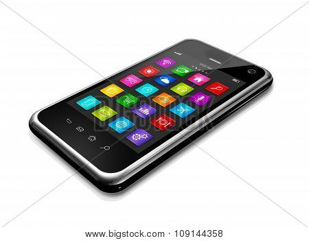 Mobile Phone With Apps Icons Interface