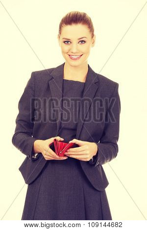 Beautiful happy businesswoman with wallet.