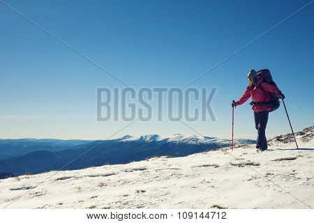 Young Woman Doing Sport In The Mountains.