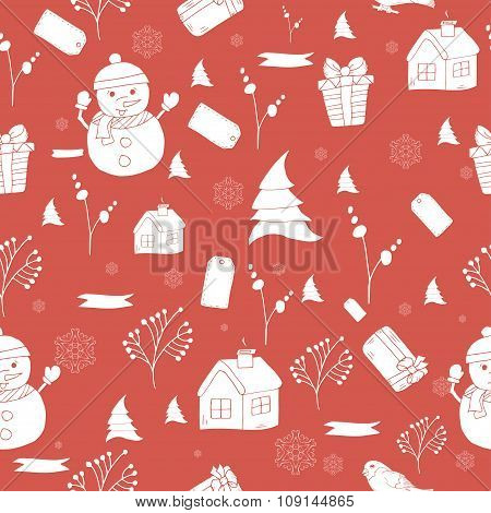 Seamless Pattern With Hand Drawn Christmas Tree, Snowflake And Bullfinch For Winter Holidays Vintage