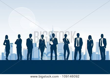 Business People Group Silhouette, Businesspeople Over City Modern Office Buildings Concept