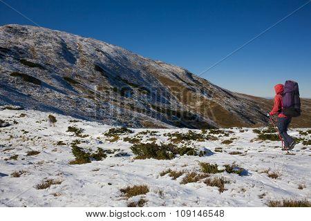 Climber Goes Through The Snow.
