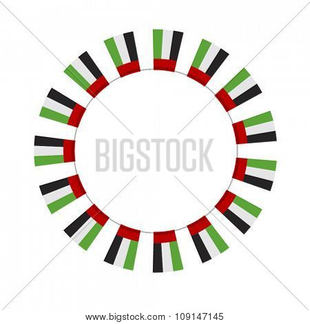 Round empty badge made with UAE National flag icons. Vector Design elements.