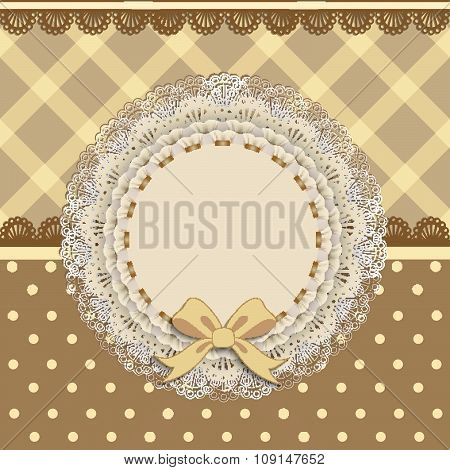 Background Card With A Cloth Napkin And Bow