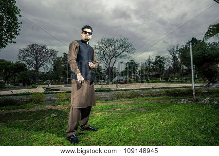 Portrait Of Young Man In A Traditional Pathan Dress With Modern Haircut & Modern Look