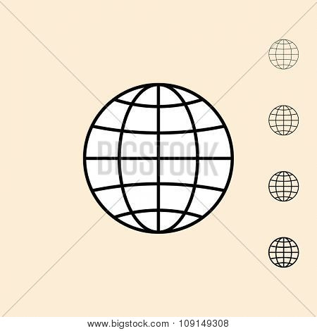 Globe icon. Vector icon in four different thickness. Linear style