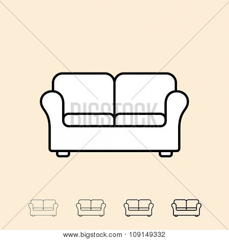 Sofa icon. Vector icon in four different thickness. Linear style