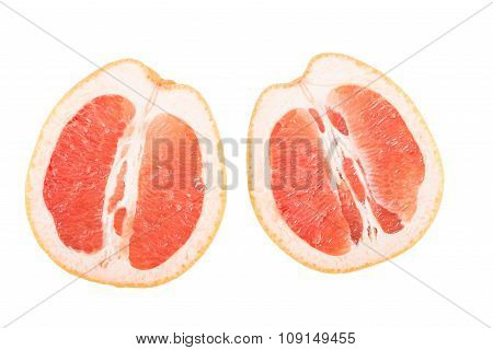 Cut in half grapefruit isolated on white background