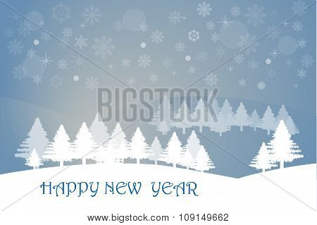 Happy New Year Winter Landscape
