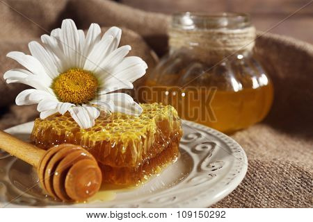 Honeycomb, dipper and chamomile on white plate and pot of honey on sacking closeup