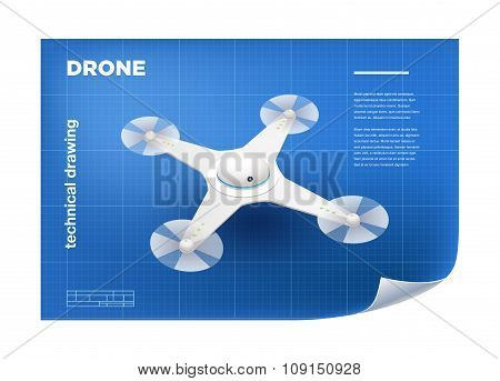 Technical Illustration with vector isometric white quadcopter drone drawing on the blueprint