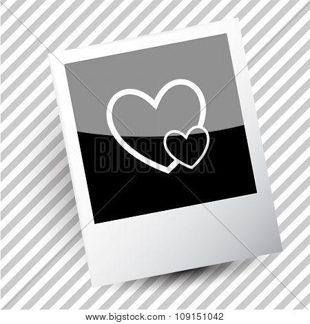 careful heart. Photoframe. Raster icon.