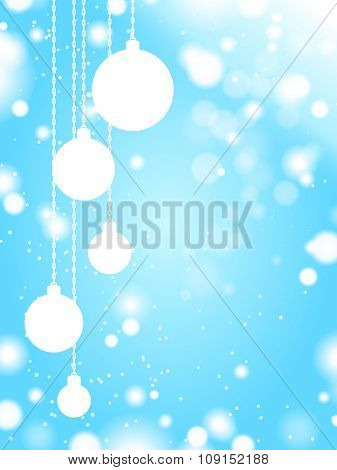 White christmas balls on blue snow background