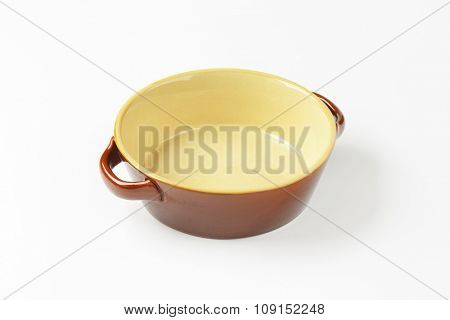Round ceramic casserole dish without lid