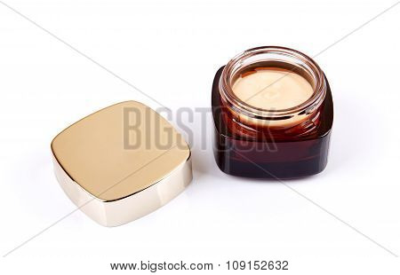 Glass Jar Of Cosmetic Cream Isolated On White