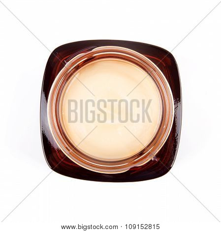 Top View Of Cosmetic Cream Jar Isolated On White