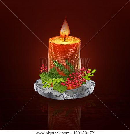 Colorful engraving candle at dark