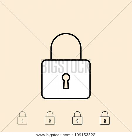 Padlock icon. Vector icon in four different thickness. Linear style