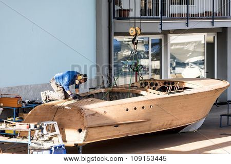 Artisan At Work In The Construction Of Boat