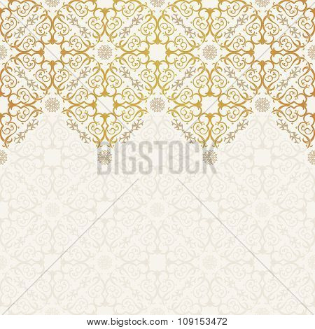 Vector seamless pattern with art ornament. Vintage elements for design in Victorian style. Ornamental lace tracery background. Ornate floral decor for wallpaper. Endless texture