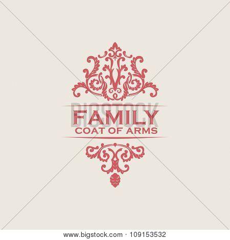 Vintage luxury emblem. Elegant Calligraphic pattern on vector logo. Red monogram Family